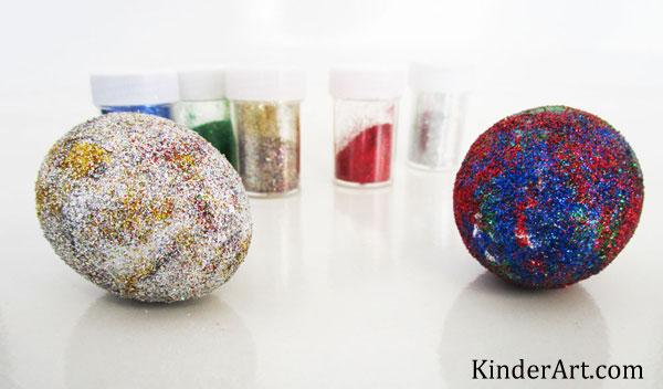 Glitter eggs craft for Easter or anytime! KinderArt.com